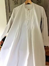 Antique French Chemise Night Shirt/Smock~White Handwoven Cotton~Broderie Anglais