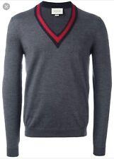 Gucci Web Trim V Neck Sweater Grey Sz L