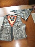 Harley Davidson leather snakeskin design biker vest w/scarf ladies large