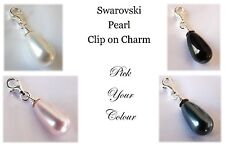 925 Sterling Silver Dangle Pearl Clip On Charm made with SWAROVSKI Pearl element