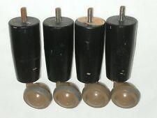 Vintage Retro Wooden Screw In Legs with Castors Set of Four
