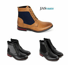 Mens Smart Casual Ankle Boots Lace Up Fashion Shoes Faux Leather Retro Style UK