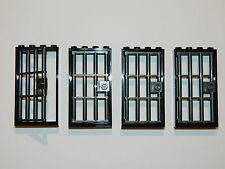 LEGO barred door gate 1x4x6 black dark grey x4 castle prison dungeon jail bars *
