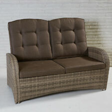 2-Sitzer Living Sofa Turin Rabida Natur Geflecht Polyrattan Gartensofa Rattan