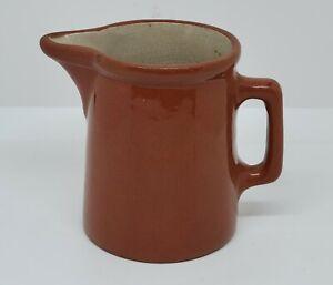 """Vintage Weller Pottery Red Ware Sm Pitcher Lg Creamer Vase 3.5""""x4"""" Glazed Brown"""