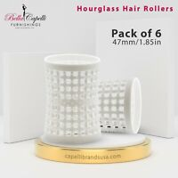 Large White Hourglass Rollers All Types Hair Pack of 6 - Unisex - 47mm/1.85in