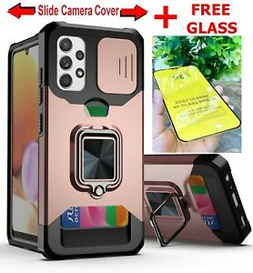 Case For Samsung Galaxy A12 A22 A32 A52S Card Slot Holder Armor Cover+Free Glass