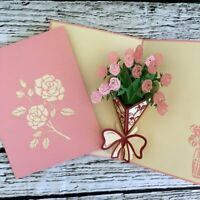 Handmade Pink Rose Bouquet 3D Pop Up Greeting Card