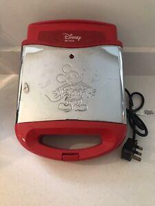 Disney Ariete Mickey Mouse Waffle Maker Red & Chrome Finish HTF