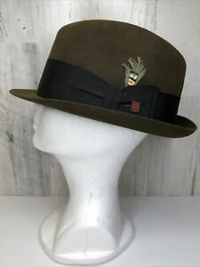 Vintage Champ 2230 Men's Felt Fedora Hat Size 7 1/4 Olive Felt Finish