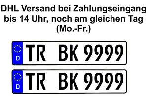 ☑️ 2x Kennzeichen I 520 x 110 mm I E- AUTO PKW LKW BUS Wohnmobil Auch Saison ☑️
