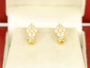 Cluster Earrings 18ct Gold Ladies Stunning 750 4.2g Ch19