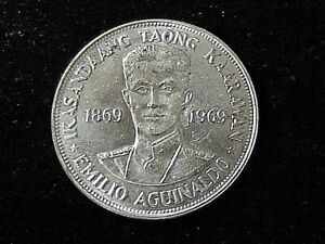 1969 Philippines Emilio Aguinaldo 1 piso silver coin KM 201, UNC near proof