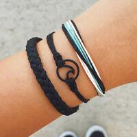 3Pcs/Set Multilayer Bracelet Braided Rope Wave Circle Women Chain Boho Jewelry
