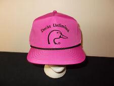 VTG-1980s Ducks Unlimited purple neon nylon hunting rope style snapback hat sku4