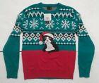 Alex Stevens Men's Snowflake Ugly Christmas Sweater Cat Fair Isle Large Cat NWT