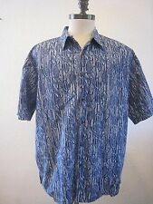 Cooke Street Honolulu 100% Cotton Blue and Gray Leafs Hawaiian Shirt Size XL