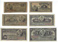 Banco Espanol Habana Isla 5, 10, 20, 50 Centavos, 1 Peso 1883 - 1897