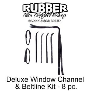1973 - 1979 Ford Truck & Bronco Deluxe Window Run Channel & Beltline Kit - 8 pc.