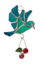 Stained Glass Cherry Bird handcrafted Suncatcher