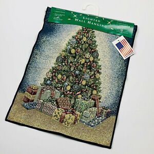Gifts of the Season Christmas Tree Tapestry Bannerette Wall Hanging with Lights