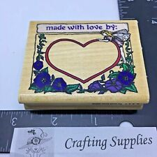 Rubber Stampede Rubber Stamp Made with Love by: Fairy Floral Wood Mount