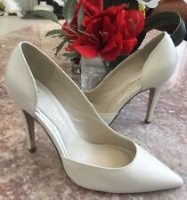 New Colin Stuart Ivory Leather Side Cutout D'orsay Pump Heel Shoes Size 7M $110