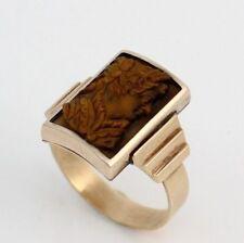 Antique Carved Tiger's Eye Cameo Solid 10K Rose Gold Ring Size 9.5
