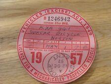 Original Vintage norton sidecar  Bicycle Tax Disc december 1957