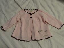 Carters Baby Girls Cardigan Sweater Pink w/ Brown Trim & Buttons Sz 6M Euc