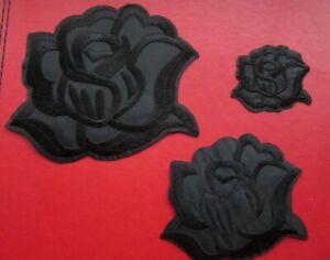 BLACK ROSE IRON ON BADGE SEW ON PATCH APPLIQUÉ FLOWER