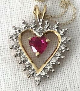 """Solid 10K Yellow Gold Ruby Heart Pendant Fine 18"""" Chain Necklace 2 Grams"""