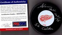 PSA/DNA GLENN HALL HOF 75-56 CALDER AUTOGRAPHED-SIGNED DETROIT RED WINGS PUCK 1
