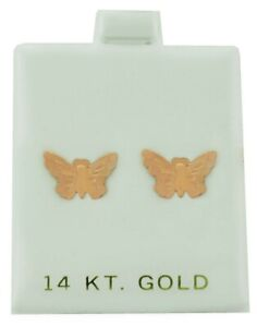 BUTTERFLY STUD EARRINGS SOLID 14K ROSE GOLD ** MADE IN USA **