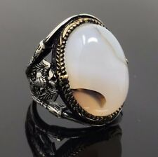 Rare 925K STERLING SILVER Yemeni AGATE(Aqeeq) Large MEN'S RING  USA SELLER P5B