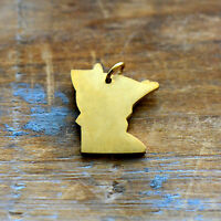 Californa State Charm Brushed 24k Gold Plated Stainless Steel Pendant Minimal