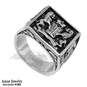 Man's Ten Commandments Ring in 14k Solid White Gold 26.0 gr in size 12 #R1898.