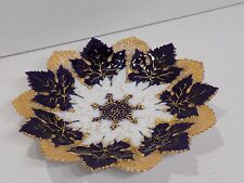 Gorgeous Rare Antique 19th C MEISSEN Cobalt Blue Gold White Maple Leaf Plate