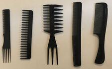 5 Different Salon Stylist's Comb Set-Black Combs- Beauty/Hair Essentials