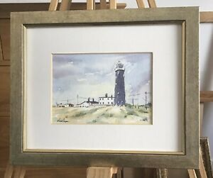 Dungeness Lighthouse & Cottages - Watercolour