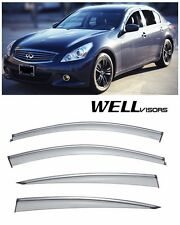 For 07-15 Infiniti G25 G37 WellVisors Side Window Visors with Chrome Trim