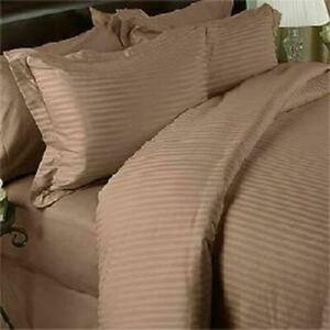 Taupe Striped Split Corner Bed Skirt Choose Drop Length US Size 800 Count