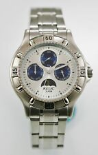 Relic Watch Mens Moon Month Day Date Stainless Silver 30m White Blue Quartz