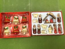 Vintage Boxed Wooden Christmas Tree Bells & Nativity Set