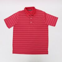 GREG NORMAN GOLF POLO SHORT SLEEVE SHIRT MEN'S SIZE M STRIPED RED