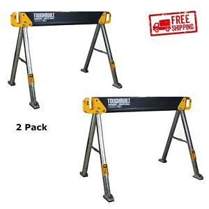 2 Pack Saw Horse Jobsite Table Adjustable Folding Heavy Duty Steel Sawhorse