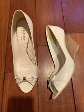 Geox White Patent Leather Peep Toe Wedges Size 40