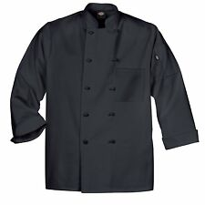 Dickies Dcp109 Blk Cloth Knot Button Black Uniform Chef Coat Jacket Large New