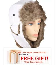Winter HAT PLOT Cap WHITE MEN WOMEN Warm Trapper Aviator Fur Ski Flap VALENTINES