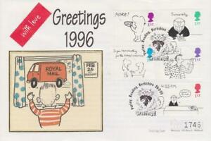 **  MERCURY SILK COVER GREETINGS: CARTOONS FIRST DAY COVER FEB 26TH 1996 **